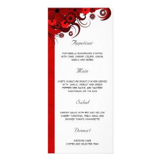 Cartões florais vermelhos e brancos do menu do 10.16 x 22.86cm panfleto