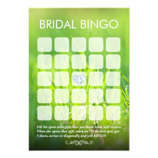 Cartões frescos do Bingo do chá de panela do verde Convite
