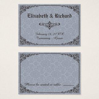 Cartões góticos azuis do lugar do casamento tema
