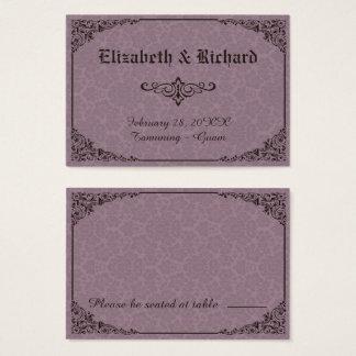 Cartões góticos do lugar do casamento tema damasco