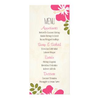 Cartões havaianos do menu do hibiscus fúcsia