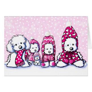 Cartões irrisórios do inverno do cão maltês