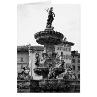 Cartões italianos, fonte de Netuno & Torre Trento