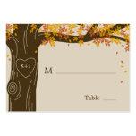 Cartões lisos do lugar do casamento outono do carv modelos cartoes de visita
