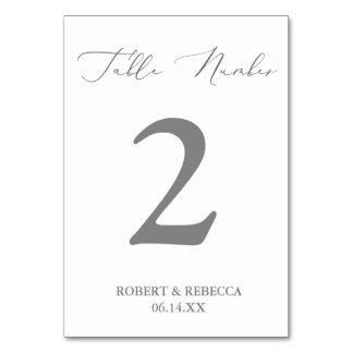 Cartões macios e elegantes do número da mesa do