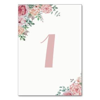 Cartões malva florais do número da mesa da