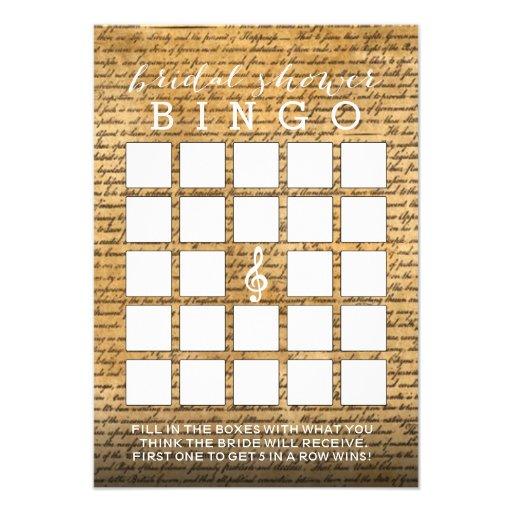 Cartões musicais do Bingo do chá de panela do Convites
