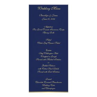 Cartões náuticos azuis do menu do casamento