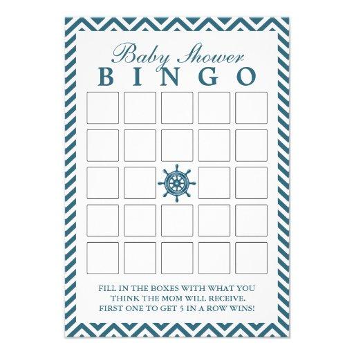 Cartões náuticos do Bingo do chá de fraldas de Che Convite Personalizados