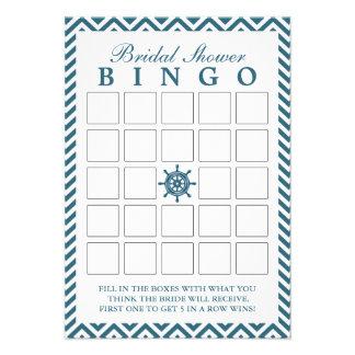 Cartões náuticos do Bingo do chá de panela do zigu Convite Personalizados