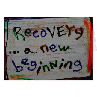 cartões novos de uma recuperação do começo