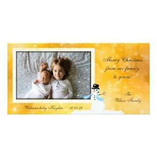 Cartões novos do ouro do Natal da foto do bebê