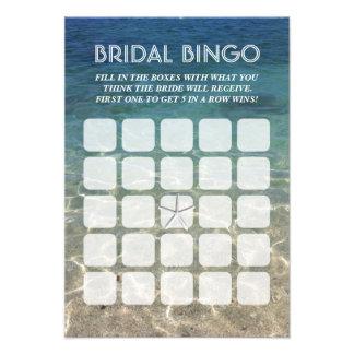 Cartões nupciais do Bingo da estrela do mar 5x5 da
