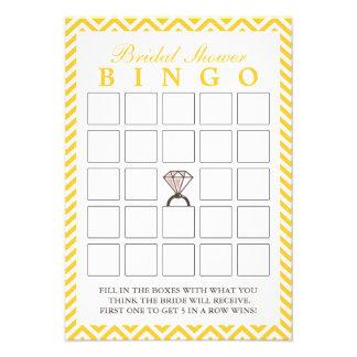 Cartões nupciais do Bingo do ziguezague amarelo do Convite