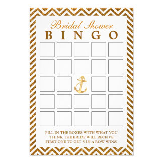 Cartões nupciais do Bingo do ziguezague náutico do Convites Personalizado