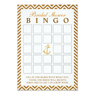 Cartões nupciais do Bingo do ziguezague náutico do Convite 8.89 X 12.7cm