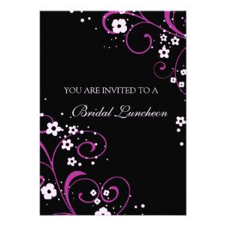 Cartões nupciais do convite do almoço do rosa e do