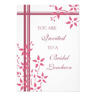 Cartões nupciais do rosa e os brancos do almoço do convite personalizado