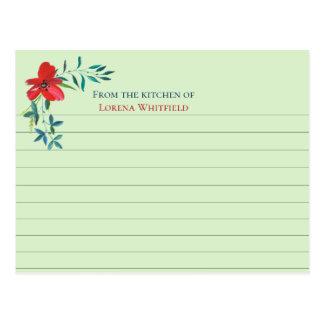 Cartões personalizados verdes pálido da receita