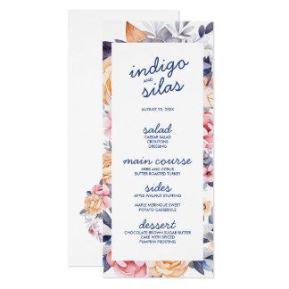 Cartões pintados florais do menu do casamento do