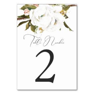 Cartões pintados mão do número da mesa das flores