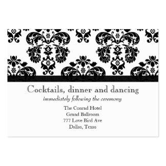 Cartões preto e branco da recepção de casamento te cartao de visita