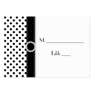 Cartões preto e branco do lugar das bolinhas modelo de cartões de visita