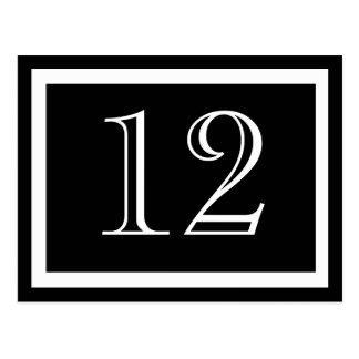 Cartões preto e branco do número da mesa