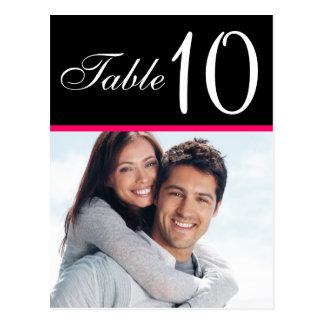 Cartões pretos cor-de-rosa do número da mesa do