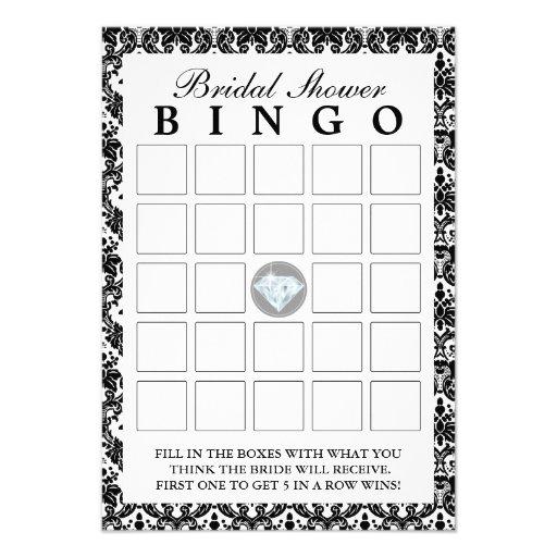 Cartões pretos do Bingo do chá de panela do diaman Convite Personalizados