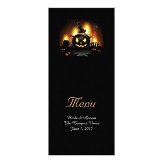 Cartões pretos do menu do casamento da abóbora 10.16 x 22.86cm panfleto
