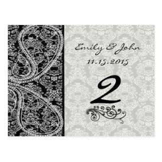Cartões pretos do número da mesa do casamento tema