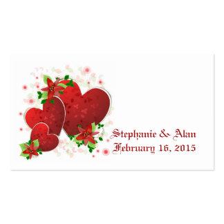 Cartões romances vermelhos do lugar dos corações cartão de visita