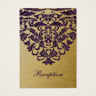 cartões roxos da recepção de casamento do ouro