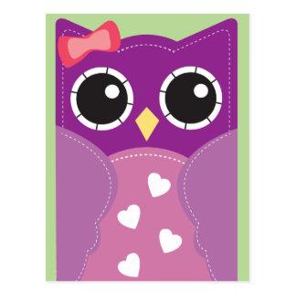 Cartões roxos da sala de aula da coruja dos