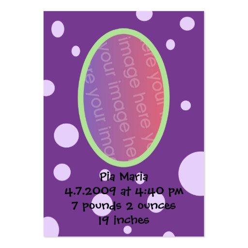 Cartões roxos do anúncio do nascimento das bolinha modelos cartão de visita