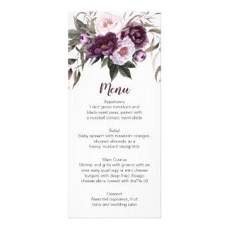 Cartões roxos do menu das hortaliças das peônias