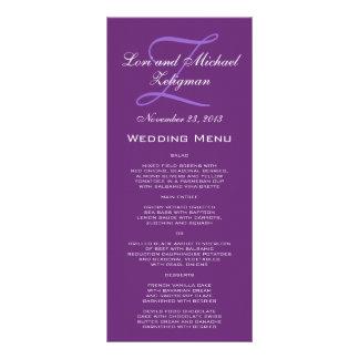 Cartões roxos do menu do casamento do monograma do