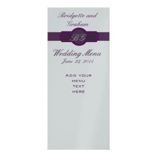 Cartões roxos do menu do casamento no papel de pra convite personalizado