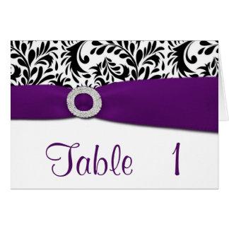 Cartões roxos do número da mesa da recepção de