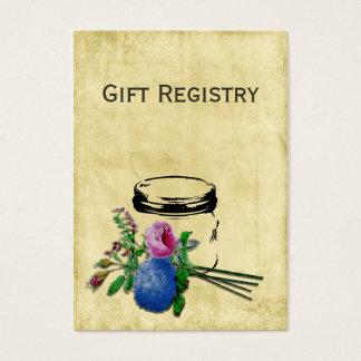 cartões rústicos da lista de presentes do frasco
