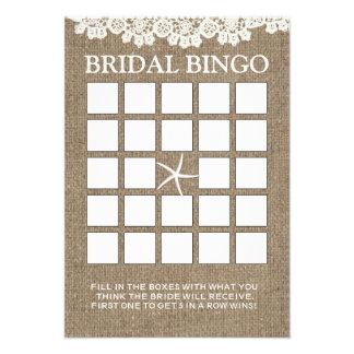 Cartões rústicos do Bingo do chá de panela do laço Convites