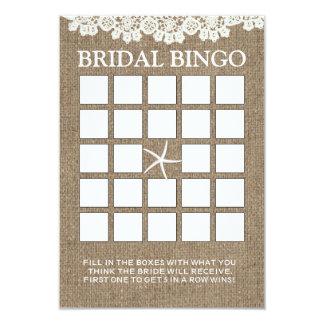 Cartões rústicos do Bingo do chá de panela do laço Convite 8.89 X 12.7cm