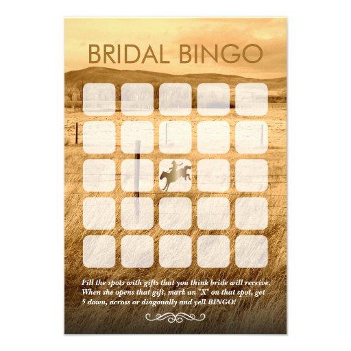Cartões rústicos do Bingo do chá de panela do país Convite Personalizado