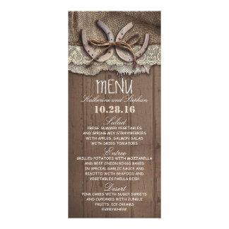 cartões rústicos do menu do casamento do país 10.16 x 22.86cm panfleto