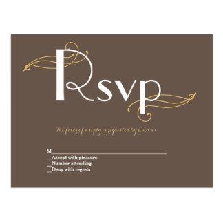 Cartões rústicos do rsvp do casamento do ouro do cartão postal