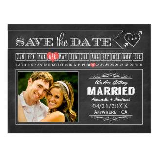Cartões salve a data da foto do calendário do
