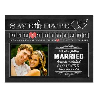 Cartões salve a data da foto do calendário do cartão postal