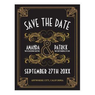 Cartões salve a data do casamento do ouro do