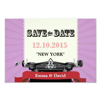 Cartões salve a data do roxo da máquina de convite 8.89 x 12.7cm